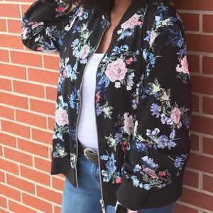 Floral Print Bomber type Jacket